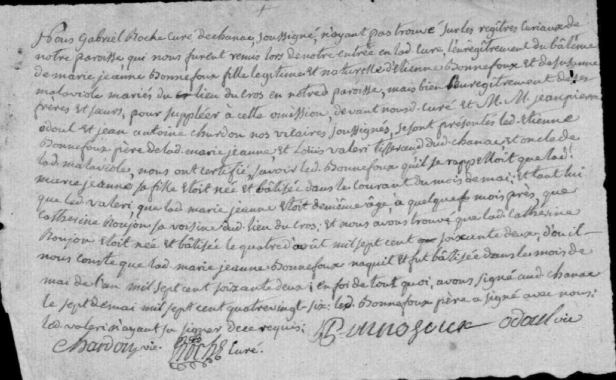 Généalogie Anecdotes Registre Chanac 1786 Note Omission Baptême