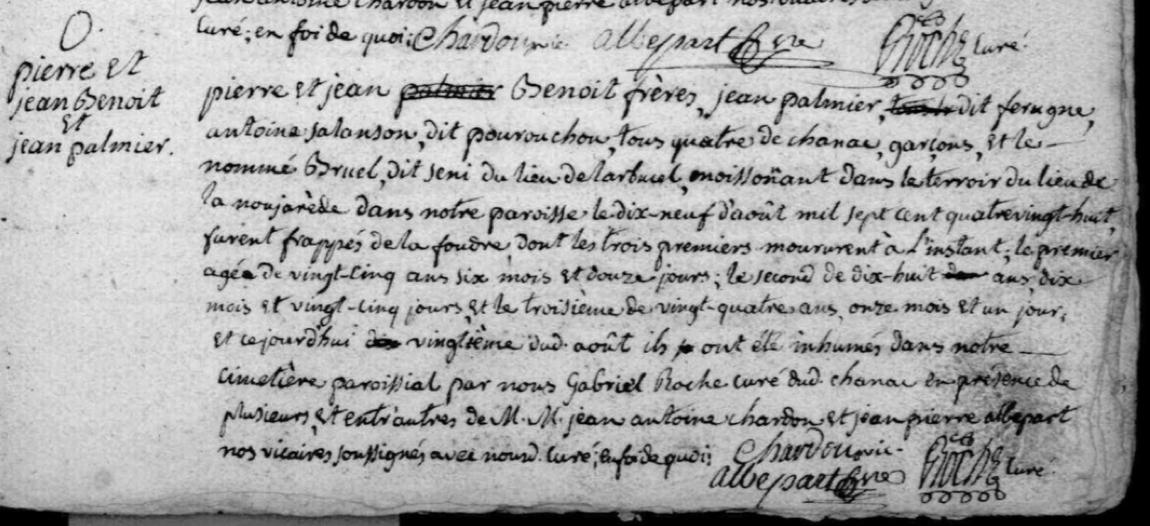 Généalogie Anecdotes Registre Chanac 1788 Acte Sépulture Foudre