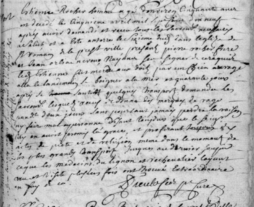 Généalogie Anecdotes Registre Chirac 1719 Acte Sépulture Rage