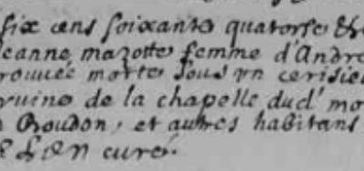 Généalogie Anecdotes Registre Le Monastier-Pin-Moriès 1674 Acte Sépulture Cerisier