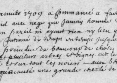 Généalogie Anecdotes Registre Saint-Bonnet-de-Chirac 1709 Note Climat Neige