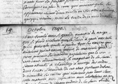 Généalogie Anecdotes Registre Saint-Pierre-d'Albigny 1740 Climat Gelée
