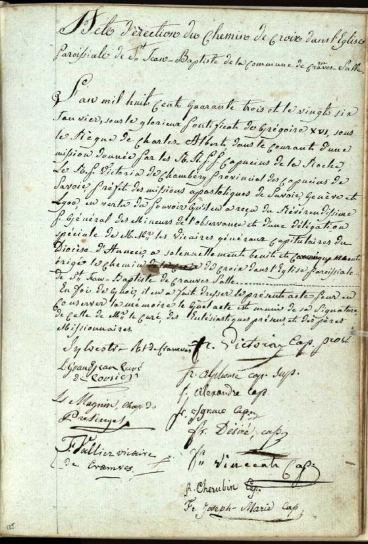 Généalogie Anecdotes Cranves-Sales 1843 Religion Chemins Croix
