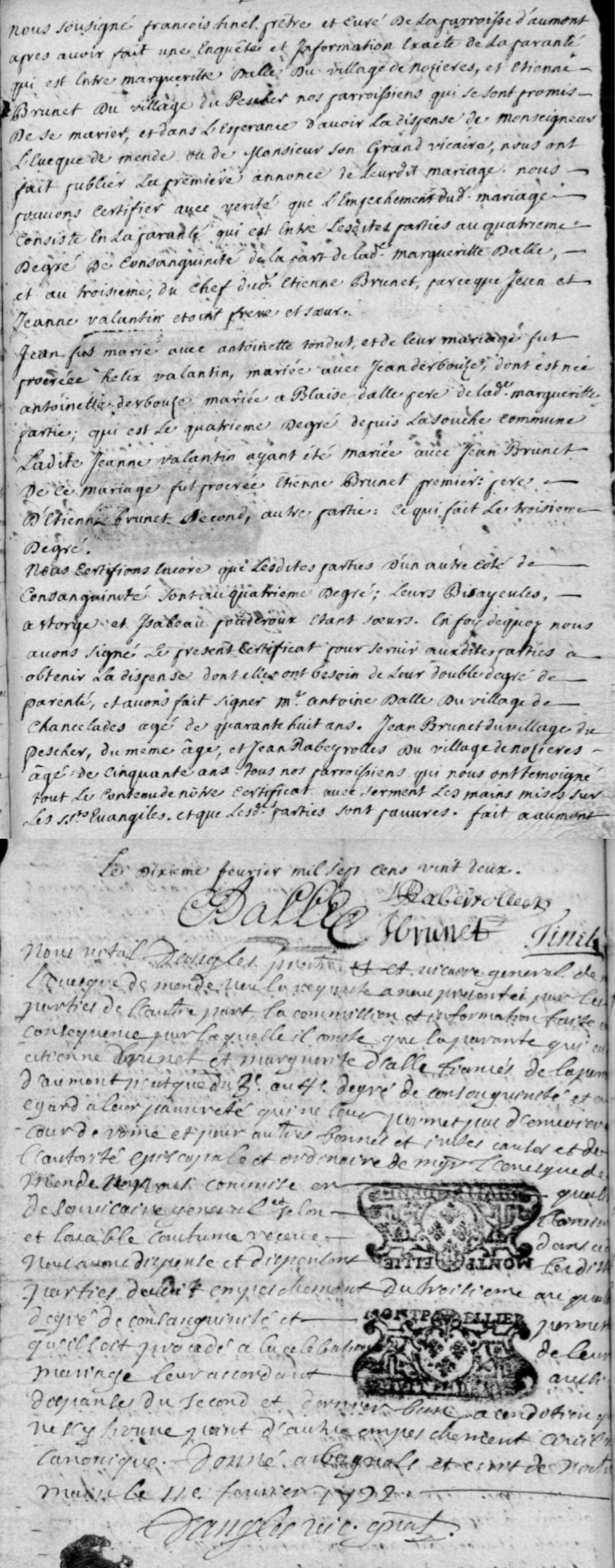 Généalogie Anecdotes Aumont-Aubrac Dispenses Consanguinité