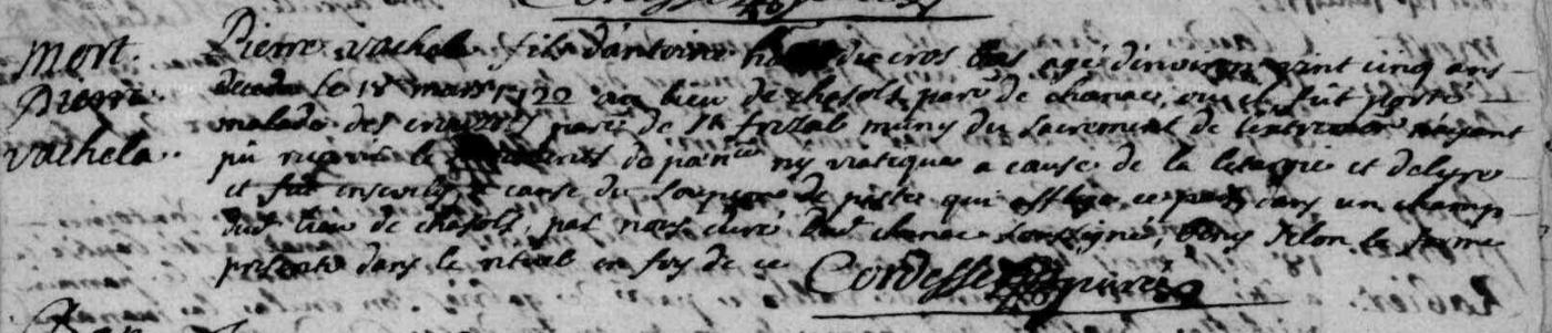 Généalogie Anecdotes Chanac 1722 Epidémie Peste