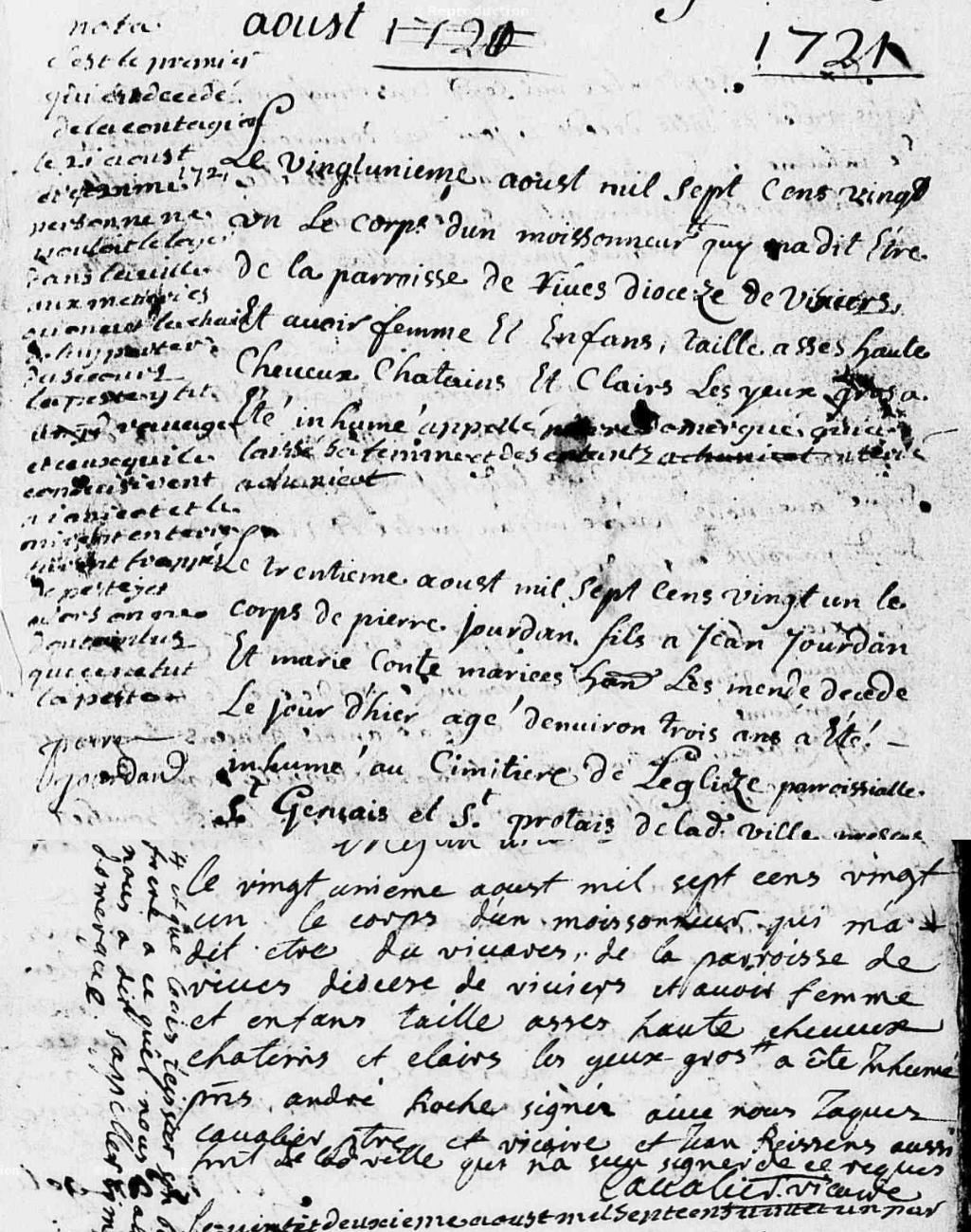 Généalogie Anecdotes Mende 1721 Épidémies Peste