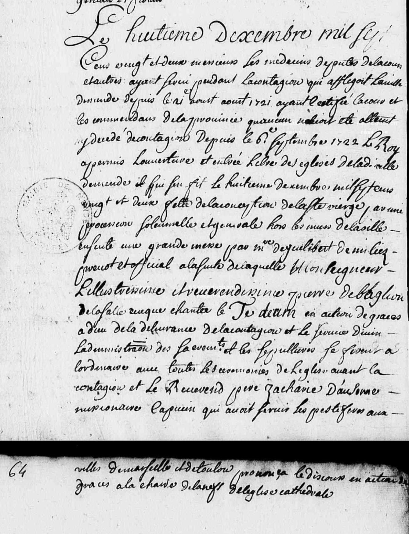 Généalogie Anecdotes Mende 1722 Épidémies Peste