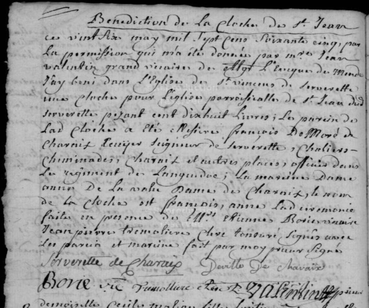 Généalogie Anecdotes Registre Serverette 1765 Religion Cloches