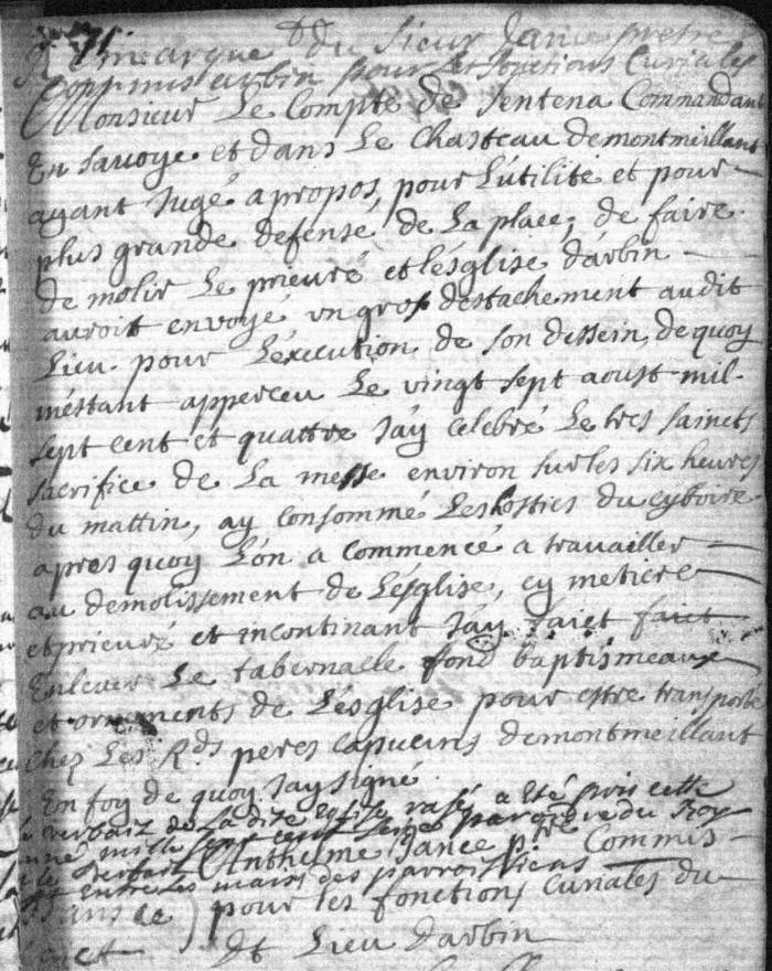 Généalogie Anecdotes 1704 Arbin Églises Destructions
