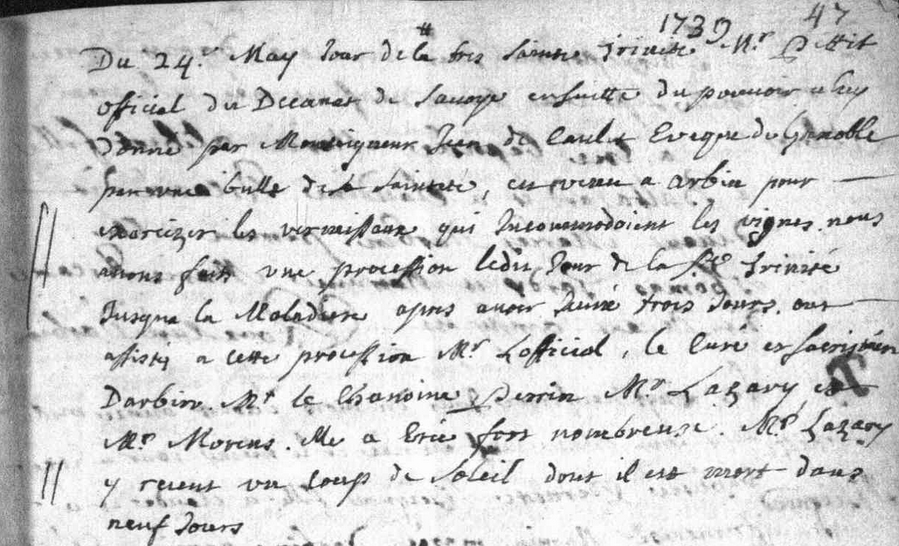 Généalogie Anecdotes Arbin 1739 Exorcisme Insolation